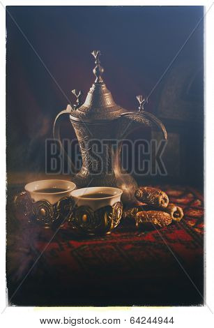 Arabic coffee and dates set up- Vintage style photograph
