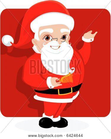 Fondo de Navidad con santa y bell