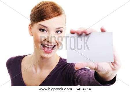 Female Person With Blank Business Card  In Hand