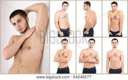 Snapshot of model. Handsome man isolated on white