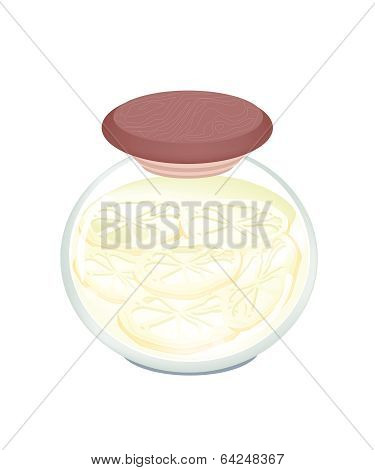 Delicious Pickled Lotus Root In Glass Jar