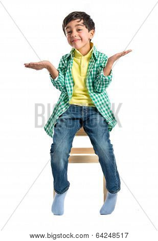 Kid With Doubts Over White Background