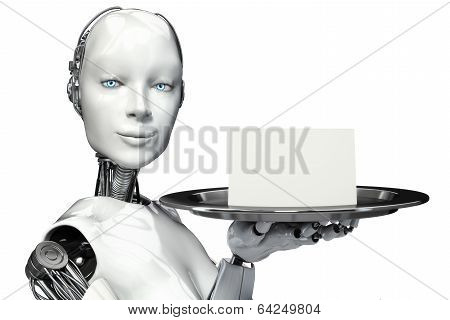 Female robot holding a serving tray with a blank card