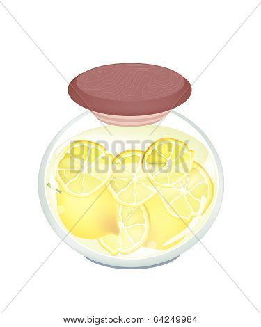 Preserved Lemons In A Jar On White Background