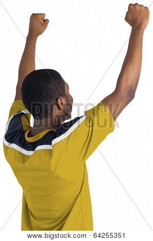 Cheering football fan in yellow jersey on white background