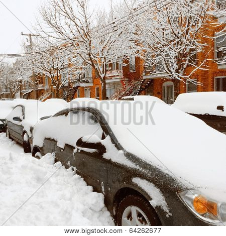 Cars Stuck In Snow After The Snowstorm