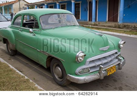 Green Car Parked On Street In Vinales, Cuba