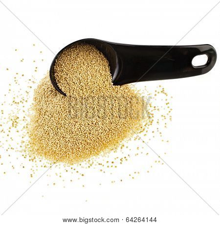 Amaranth popping, gluten-free, grain cereal in black scoop close up isolated on white background