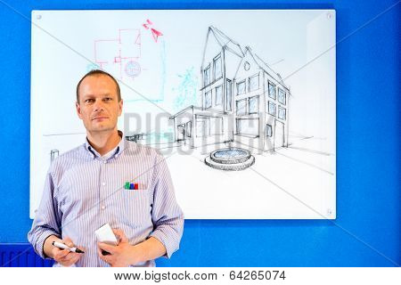 Architect, holding a white board marker, standing in front of a design sketch of a residential structure on the glass board behind him