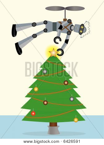 Robot putting star on top of tree using flying machine vector