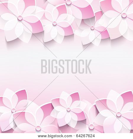 Trendy Abstract Pink Background With 3D Sakura Flower