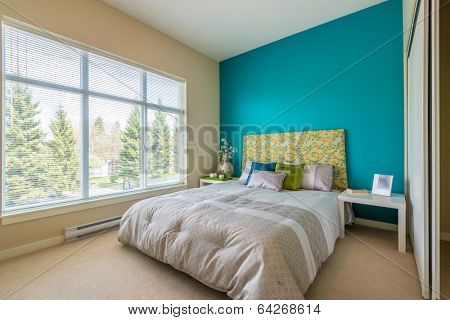 Modern blue bedroom interior in a luxury house