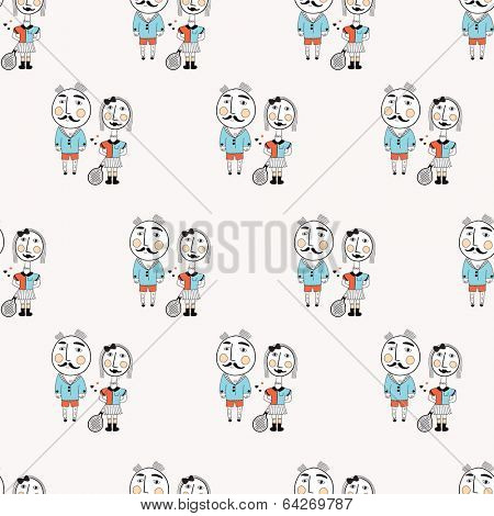 Seamless quirky tennis people illustration background pattern in vector