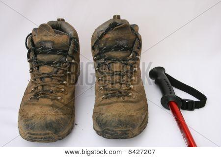 Muddy walking boots.