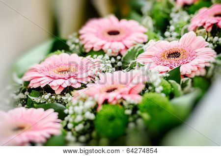 Gerbera Flowers Prepared For Wedding Guests