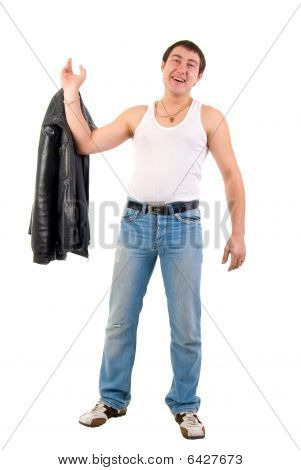 Jeans Macho Boy With Leather Jacket. Studio Shoot Over White Background.