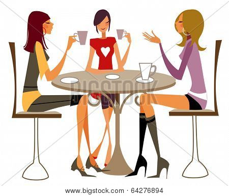 girls chattiing in cafeteria