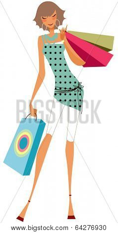 giril with shoppingbags