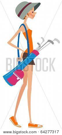 woman with golf sticks