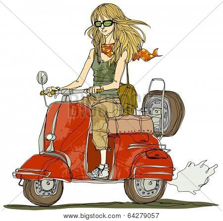 scooter riding girl