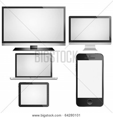 Isolated Paper Cut Of Tablet,smart Tv, Phone Mobile, Computer Monitor With Flat Screen Is Modern Dis