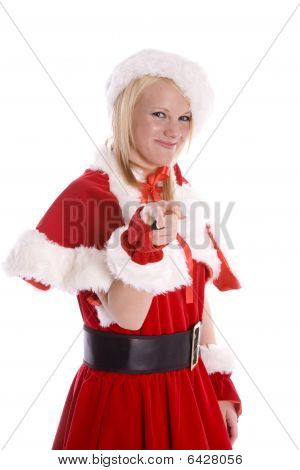 Santa Helper Pointing And Smiling