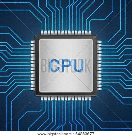 Isolated Paper Cut Of Cpu Chip On Blue Circuit Is Central Processor Technology In Circuit Computer O
