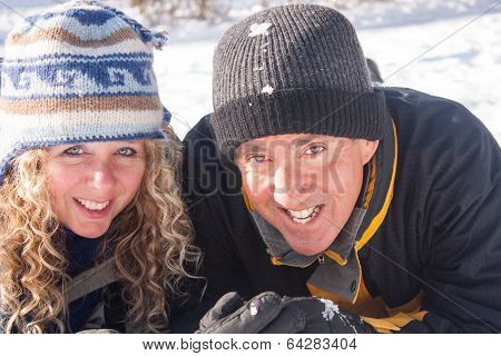 Winter Couple In The Snow