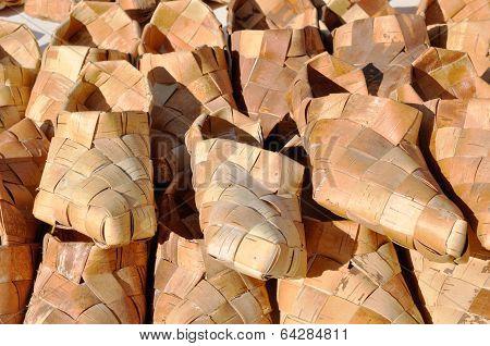 Russian National wicker shoes of birch bark
