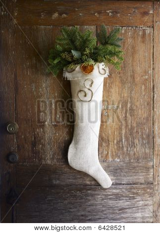 Rustic Christmas Stocking For Front Door