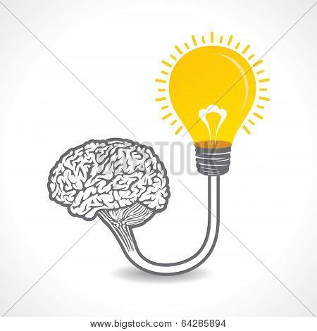 new idea concept or bulb connect to the brain concept