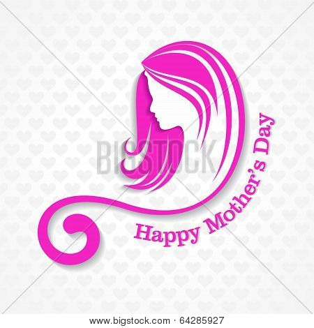 Silhouette of a mothers day card with face with text