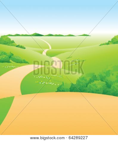 Path over green landscape