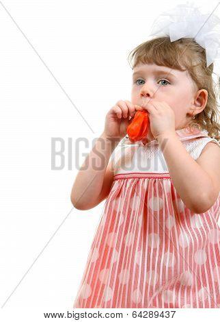 Little Girl Blow Up A Balloon