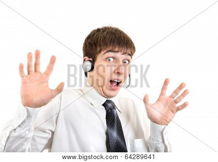 Shocked Young Man With Headset