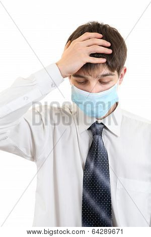 Sad Young Man In Flu Mask