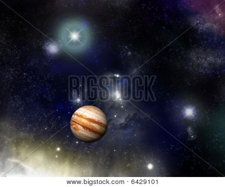Universe - Jupiter And A Starfield