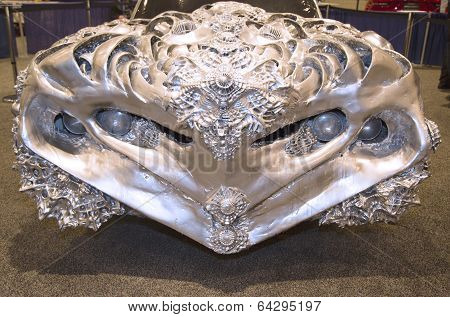 3D Printed Liquid Metal Ford Gran Torino Car by artist Ioan Florea on display in New York