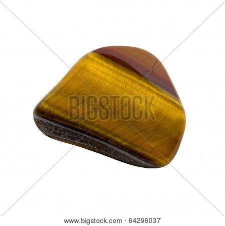 Tigers Eye Gemstone On White Background