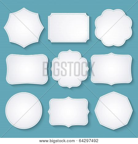 Vector set of paper decorative frames poster