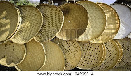 Thai Handmade Bamboo Threshing Basket