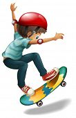 stock photo of headgear  - Illustration of a little man skateboarding on a white background - JPG