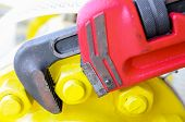picture of pipe wrench  - Pipe wrench or plier wrench, Tools equipment for use in heavy job ** Note: Shallow depth of field - JPG