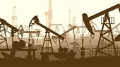 pic of oilfield  - Horizontal abstract illustration of large number oil pumping units - JPG