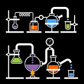 picture of reaction  - Chemistry Laboratory Infographic with Some Reaction on Black Background - JPG