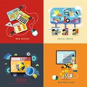 Flat Web Design, Seo, Social Media, Pay Per Click poster