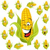 image of sweet-corn  - sweet corn cartoon with many expressions isolated - JPG