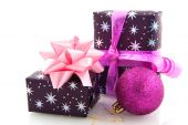 foto of christmas-present  - Christmas presents in purple pink and silver - JPG