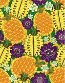 Постер, плакат: Ананас цветочный шаблон