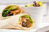 image of shawarma  - kafta shawarma chicken pita wrap roll sandwich traditional arab mid east food